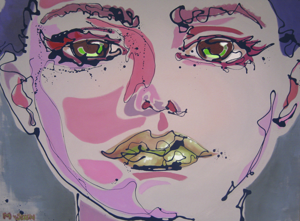 Near-abstract popart portrait painting in pastel colors. Title: Ferentina. 97 x 130 cm