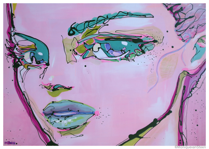 This pink lady is called Ocalea, the size of her canvas is 92x65cms.