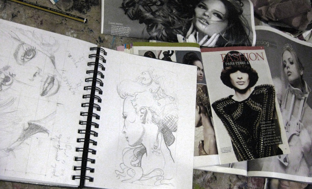 pre - painting sketches on my working table in the studio